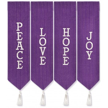 Peace, Love, Hope and Joy Advent Wreath Banners