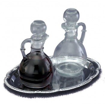 Glass Cruets with Chrome Tray