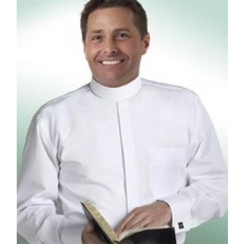 Banded Collar Clergy Shirt with White French Cuffs