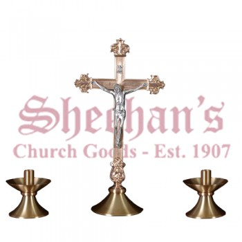 Altar Crucifix with Antique Silver Corpus and Candlestick Set